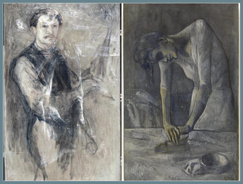 """Imagen del retrato de un hombre descubierto bajo """"Mujer Planchando"""", ambos de Picasso."""