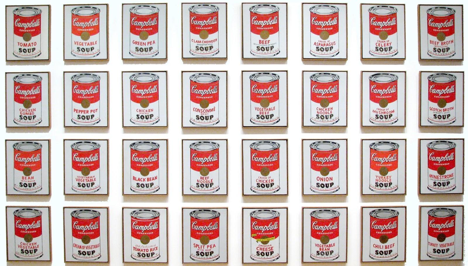 Serie de las 32 imágenes de sopas Campbell de Warhol.