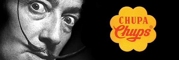 Dalí junto al logotipo de Chupa Chups.