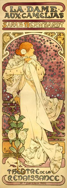 """Cartel de """"La Dame aux camélias"""", de Alphons Mucha."""