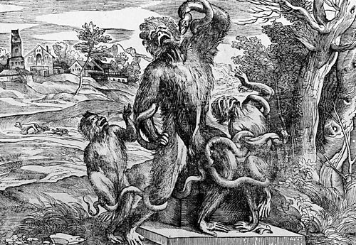 Caricatura del Laocoonte dibujada por Tiziano y grabada por Niccolò Boldrini.