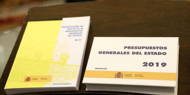 Versión impresa del proyecto para los Presupuestos Generales del Estado de 2019.