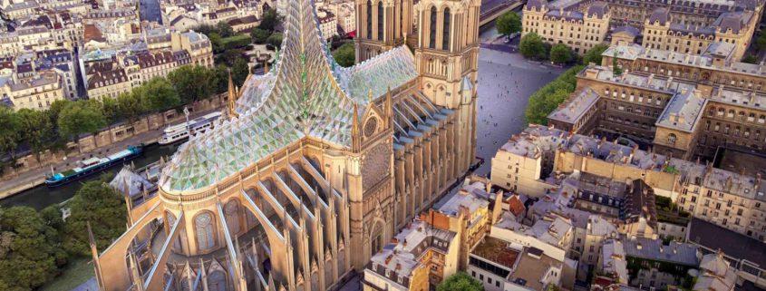 Recreación de la propuesta de Vincent Callebaut Architectures para restaurar Notre Dame.