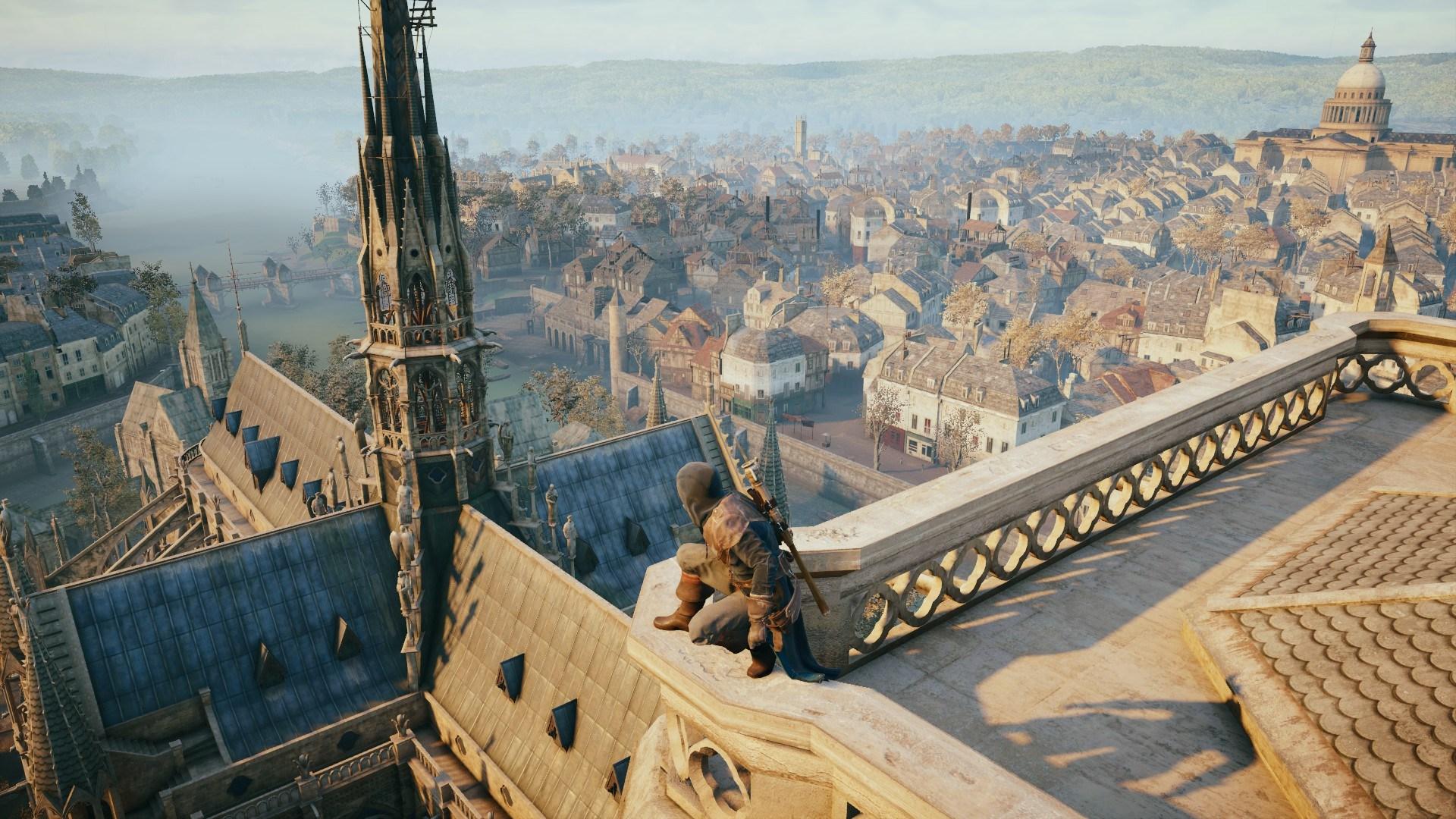 """La aguja de Notre Dame en el videojuego """"Assassin's Creed Unity""""."""